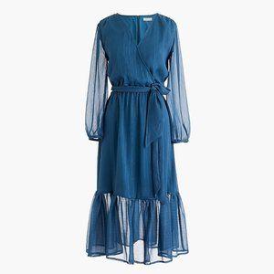 Point Sur J. Crew Faux-Wrap Crinkle Chiffon Dress